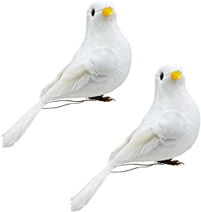 Artificial Foam Doves White Birds with Feather for Weding Party,Christmas Home Garden Decor (White, 2)