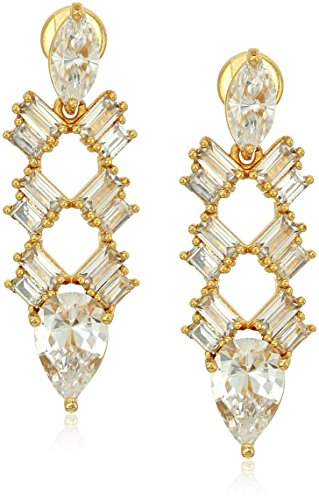 Nicole Miller Nmny Cosmic Deco Gold/Clear Drop Earrings (Deco Baguette)