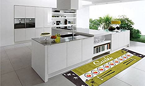 WEBTAPPETI.IT Tappeto passatoia cucina verde stile asiatico ...