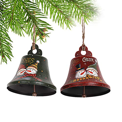 Christmas Tree Ornaments Jingle Bell Decorations with Hand Painted Snowman Metal Bell Ornaments Xmas Hanging Decoration Holiday Decor Set of ()