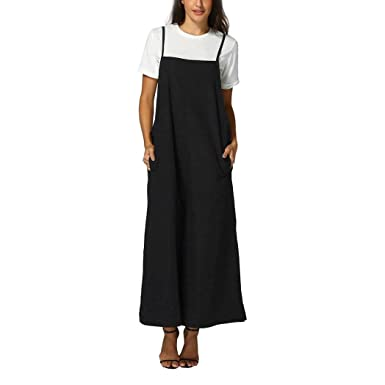 8be1764d5c44 SCSAlgin blouse Women Wide Leg Pants Sleeveless Jumpsuits Overalls Bib Pants  Dungaree Trousers (Black