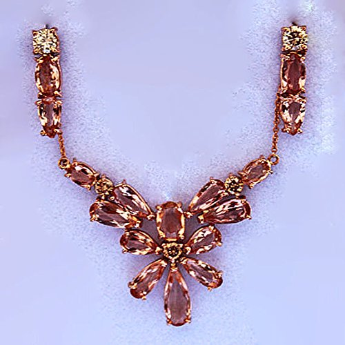 14K Pink Imperial Topaz Necklace & Earring Set with Champagne Diamonds
