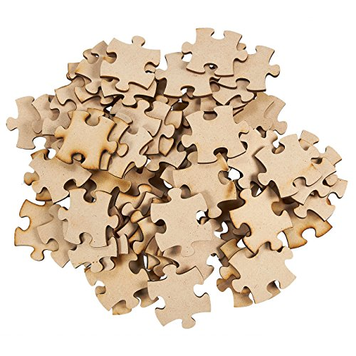 Blank Puzzle Pieces (Freeform Blank Puzzle - 100-Piece Unfinished Wood Puzzle, Wooden Jigsaw Puzzles for DIY, Kids Color-in Crafts Projects, 1.875 x 1.56 x 0.125)