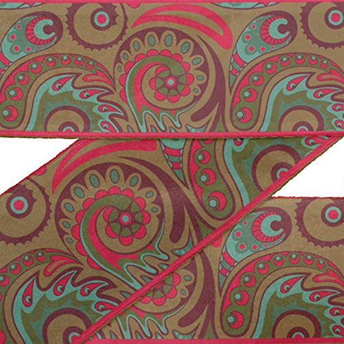 (IBA Indianbeautifulart Brown Artistic Paisley Printed RibbonTrim9 Yards Velvet Fabric Laces for Crafts Sewing Accessories 2 Inches)