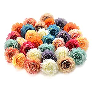 Flower heads in bulk wholesale for Crafts Silk Peony Rose Artificial Flower Heads Wedding Home Furnishings DIY Wreath Handicrafts Fake Flowers Party Birthday Home Decor 30pcs 4.5cm (Colorful) 52