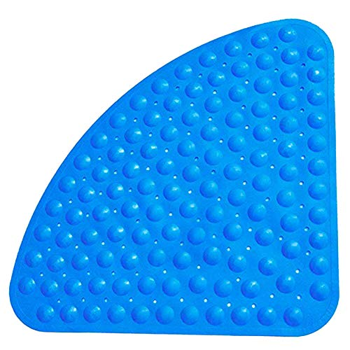 ZhiXu Sector Rubber Corner Shower Mat Anti-Slip Quadrant Bath Mat Anti-Bacterial Suction Mat for Shower or Tub,Non-Slip Bathtub Mat,54x54CM (Blue)