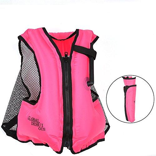 DeHui Globle Life Jacket Adult Inflatable Snorkel Vest Swim Vest for Safe Snorkeling (Neon Pink)