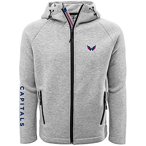 Levelwear LEY9R NHL Washington Capitals Adult Men Titan Banner Stripe Full Zip Hooded Jacket, XX-Large, Heather Pebble