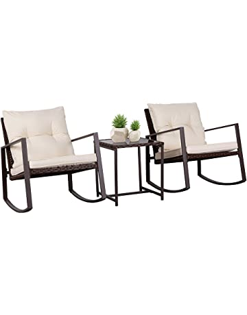 4567dcacf86 SUNCROWN Outdoor 3-Piece Rocking Wicker Bistro Set  Black Brown Wicker  Furniture -