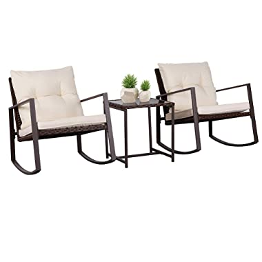 SUNCROWN Patio Rocking Chair Set, 3 Piece Brown Wicker Bistro Set with Beige-White Cushion & Glass Coffee Table
