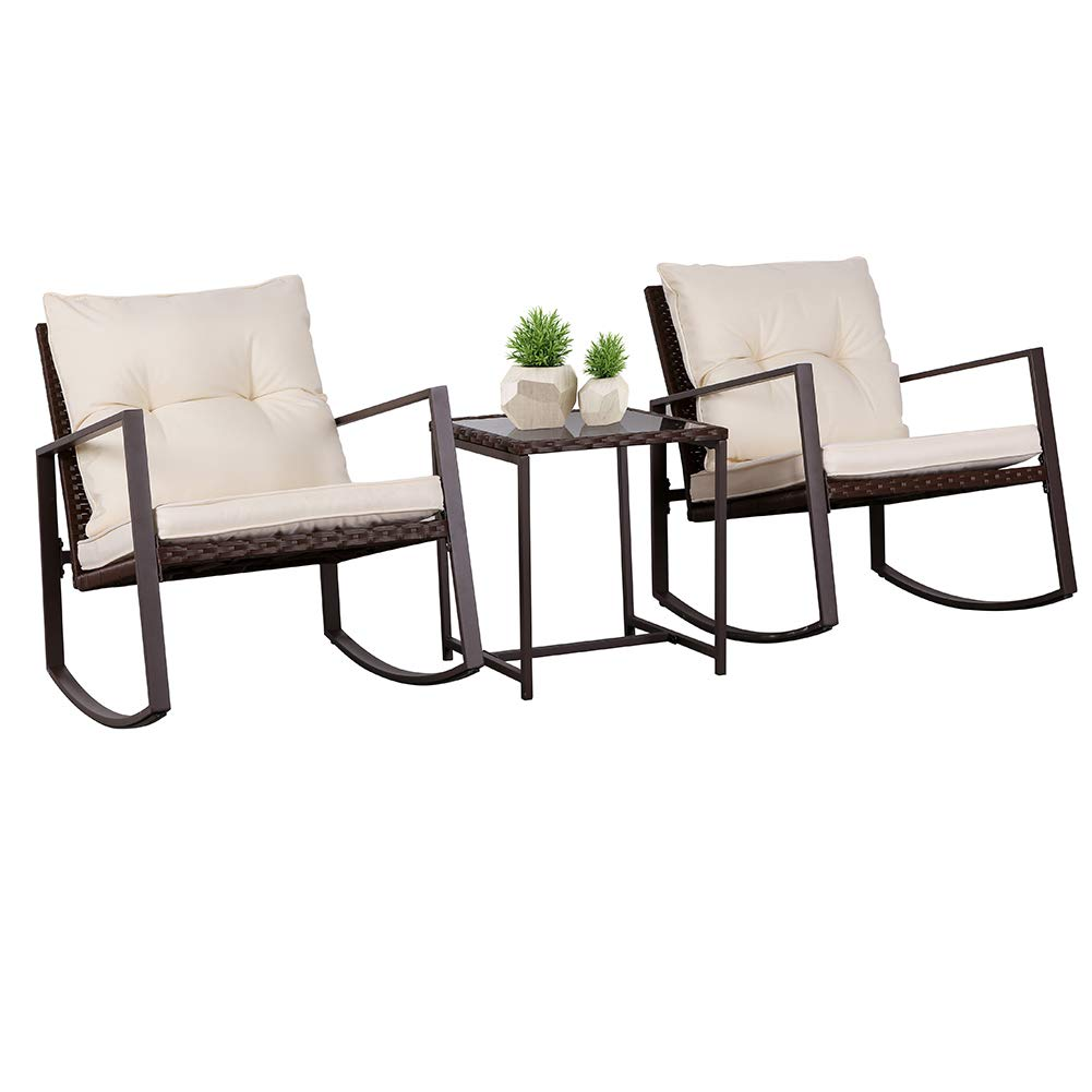 SUNCROWN Outdoor Patio Furniture 3-Piece Bistro Set: Brown Wicker Rocking Chair - Two Chairs with Glass Coffee Table (Beige-White Cushion)