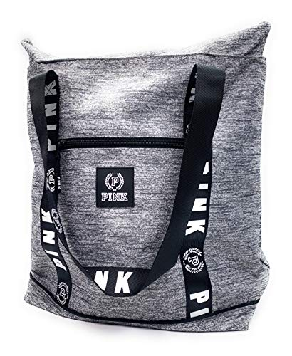 Victoria's Secret PINK Travel Tote Marl Gray Zip Top Logo Beach/Gym Bag