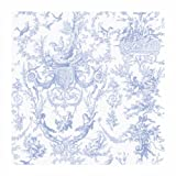 York Wallcoverings AT4241 Ashford Toiles Old World Toile Prepasted Wallpaper, White/Blue