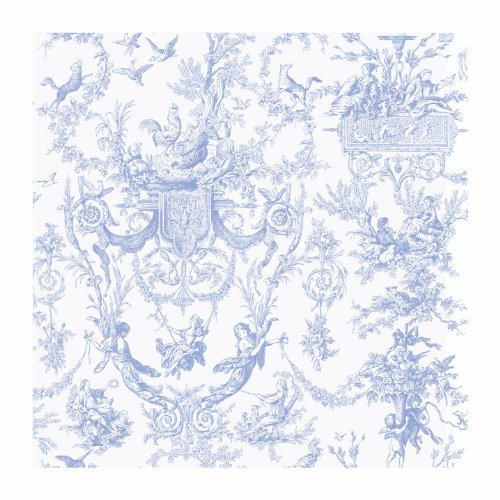(York Wallcoverings Ashford Toiles Old World Toile Prepasted Removable Wallpaper, White/Blue)