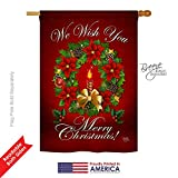 Breeze Decor H114003 We Wish You Winter Christmas Decorative Vertical House Flag, 28″ x 40″, Multicolor Review