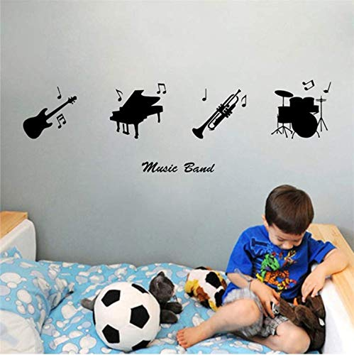 (FXQ Wall Sticker Cool Music Band Musical Instruments Guitar/Piano/Trumpet Drums Vinyl Sticker Music/Dance Studio 5664Cm)