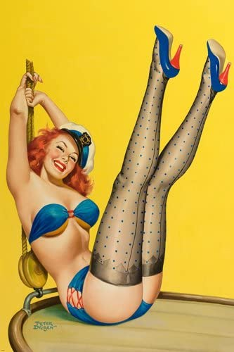 Amazon Com Navy First Mate Pin Up Girl Poster Sexy Vintage Leggy