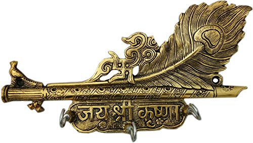Artsy Art & Craft Lord Krishna Flute & Peacock Quills Metal Key Holder for Home and Office Wall Hanging Showpiece