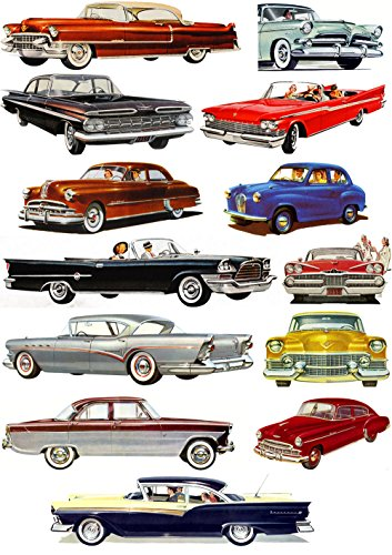 """Large Stickers (each sticker 1.5""""x3.5"""", pack 13 pcs) Classic Cars America Fifties Ford Chevy Cadillac FLONZ Vintage"""