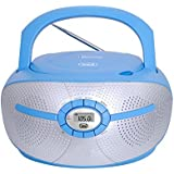 Trevi CMP 550 Portable Boombox CD and MP3 Player, PLL Digital FM Radio with USB, AUX-IN and Headphone Socket (Blue Bluetooth)