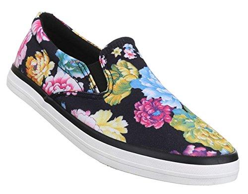 Damen Halbschuhe Lace up Schuhe Slipper Schwarz Weiß Multi 36 37 38 39 40 41 Schwarz Multi