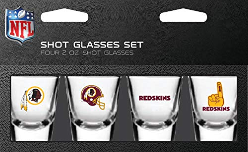NFL Washington Redskins Shot Glass Set4 Pack Shot Glass Set, Team Colors, One Size