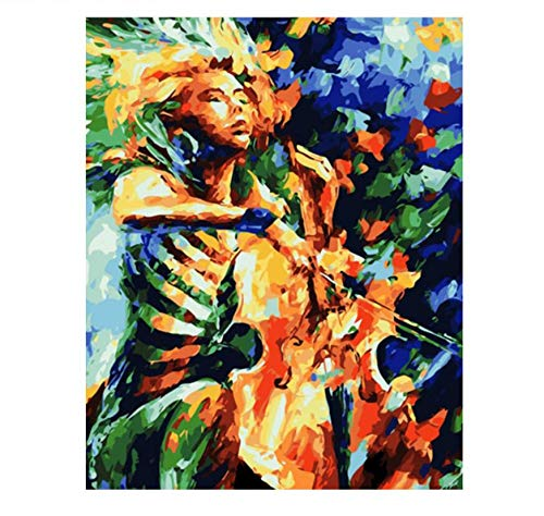 QIANDONG1 Abstract Play Cello DIY Painting by Numbers Kits Coloring Paint by Number Home Wall Art Picture for Living Room -