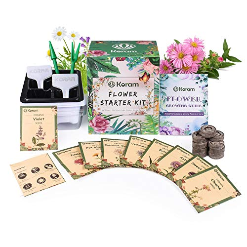 KORAM Flower Seeds Packet Starter Kit, Organic Spring Flower Seed for Home Garden with Every Planting Tools You Need Outdoor Planting Set (10 Varieties Seeds Individual Packets)