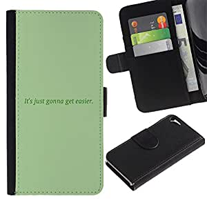 KingStore / Leather Etui en cuir / Apple Iphone 5 / 5S / Mensaje verde musgo texto Inspiring