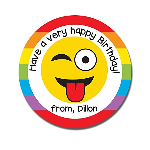 Image Unavailable Not Available For Color Emoji Birthday Stickers Personalized Kids Gift Tags