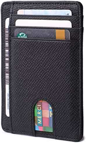 Slim Minimalist Front Pocket RFID Blocking Leather Wallets for Men Women Credit Card Holder