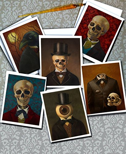 Gothic cards -Notecards - Victorian - Steampunk -Skeleton Cards - Halloween Cards