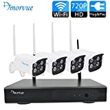 Amorvue 4 Channel 720P Wifi NVR with 4 PCS Day Night Wireless 1MP Outdoor/Indoor Security Network Camera Home CCTV Surveillance Systems without HDD (Plug and Play, NVR Built-in Router)