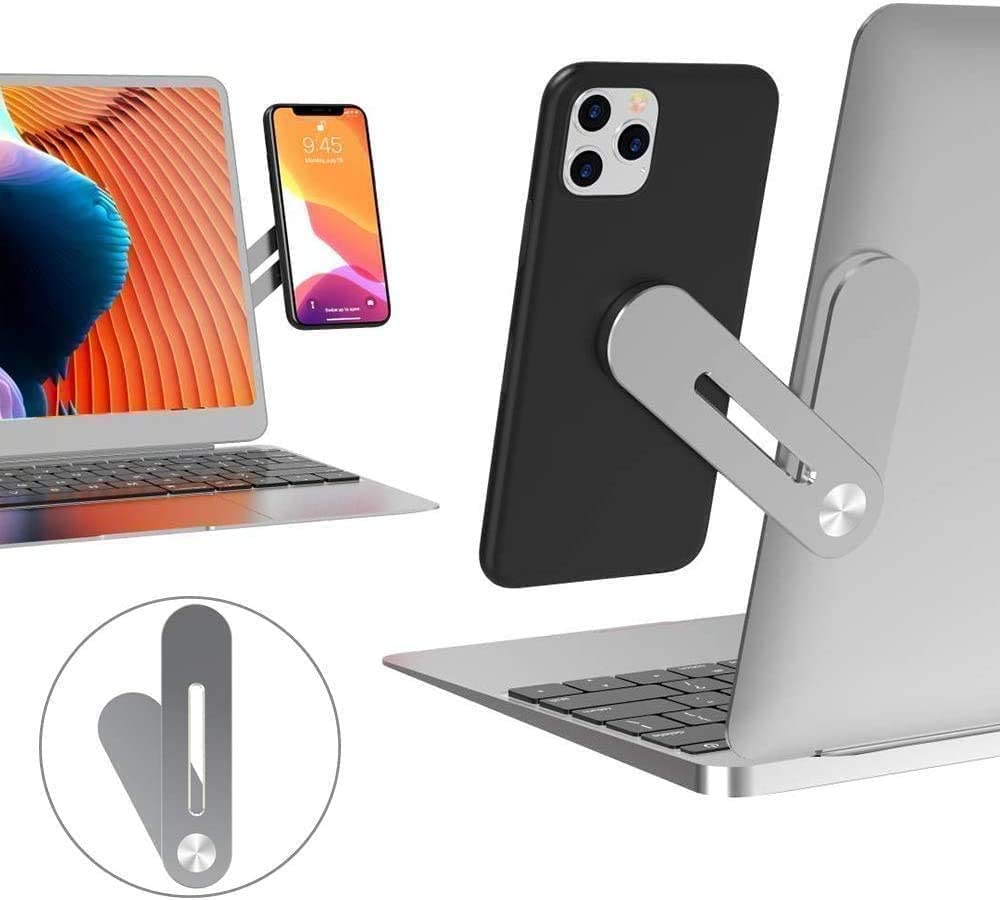 I&K Adjustable Laptop Side Mount Clip, Phone to Laptop or Tablet Clip, Safty Cellphone Stand for Smartphone,Enjoying Dual Screen at The Same Time