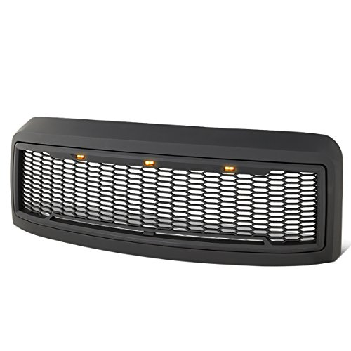 For Ford F250 F350 Super Duty Matte Black Honeycomb Mesh Front Bumper Grille w/Shell+LED - Radiator Super Pickup Duty