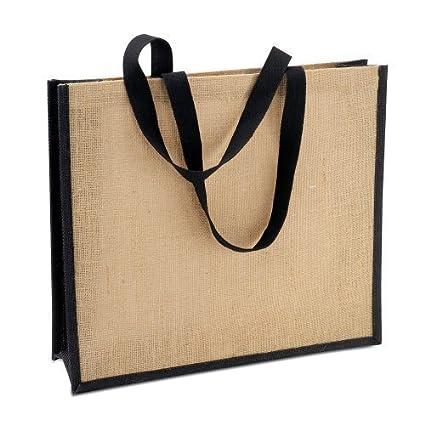 722656abe86 Jute   Hessian Shopping Bag - Reusable Eco Friendly Tote Shopper Bag (Black  Trim)  Amazon.co.uk  Kitchen   Home