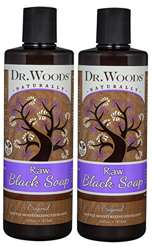 Dr. Woods Natural Raw African Black Moisturizing Liquid Castile Soap, 16 Ounce (Pack of 2)