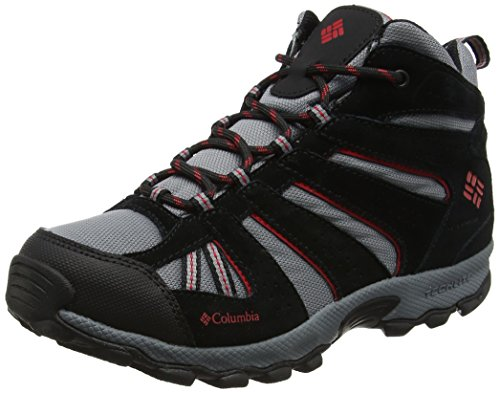 Columbia Kids' Youth North Plains Mid Waterproof Hiking Boot, Grey Ash/Mountain Red, 2 M US Big Kid by Columbia
