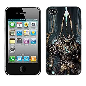 All Phone Most Case / Hard PC Metal piece Shell Slim Cover Protective Case for Apple Iphone 4 / 4S Robot Alien Warrior Sword Art Armour Blue
