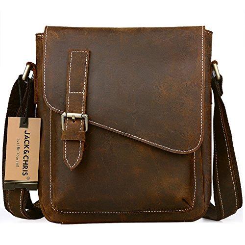 JackChris Handmade Men's Leather Messenger Bag Shoulder Bag Ipad Bag, NM1866