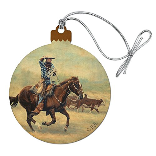 GRAPHICS & MORE Cattle Drive Western Cowboy in The Loop Wood Christmas Tree Holiday Ornament]()