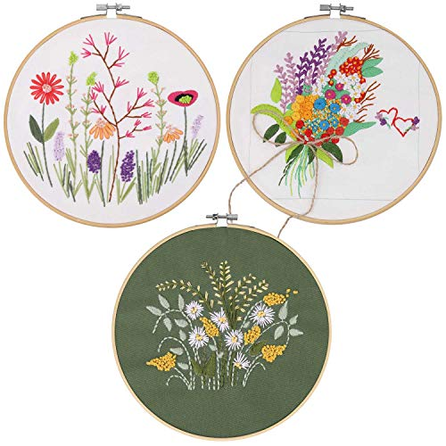 3 Pack Embroidery Starter Kit with Pattern Including 3Pcs Embroidery Cloth with Pattern,1Pcs Bamboo Embroidery Hoop,Color Threads Tools Kit (Plant and Flowers)