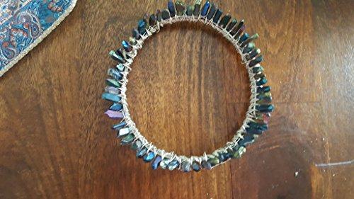 titanium aura quartz crown, silver circlet, crystal diadem, boho bridal halo headpiece, crystal moon hair accessories, celestial wedding by The Queen of Quartz
