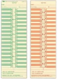 "TOPS Time Cards, Semi-Monthly, 2-Sided, 3-1/2"" x 10-1/2"", Manila, Green/Red Print, 500-Count (1276)"