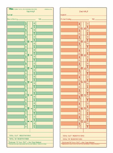 Top1275 Tops - TOPS Time Cards, Semi-Monthly, 2-Sided, 3-1/2