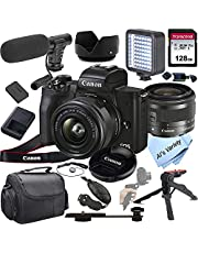 $799 » Canon EOS M50 Mark II Mirrorless Digital Camera with 15-45mm Lens + Shot-Gun Microphone + LED Always on Light+ 128GB Card, Gripod, Case, and More (18pc Video Bundle)