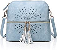 APHISON Crossbody Purse for Women Leather Phone Pouch Shell Shape Dome Sunflower Hollow Shoulder Bags with Tas