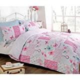 Just Contempo Double Duvet Cover ( Girls Bedroom ) Cotton Blend Butterfly Floral Patchwork Duvet Cover - Reversible Bedding Bed Set Pink