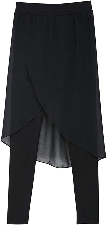 Dobladillo Irregular para Dos Mujer Leggings Pseudo Delgados Elegantes con Moda Completi Falda Colores Sólidos Pantalones De Cintura Elástica Falda Pantalones