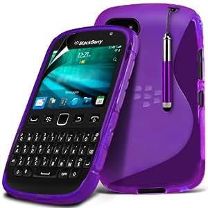 (Violeta) Blackberry 9720 Protector Gel onda S Línea piel cubierta de la Caja, Retráctil Capacative Pantalla Táctil Lápiz Óptico & Paquete de 10 LCD Protector de pantalla de Spyrox